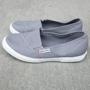 Superga gray cotton canvas fashion sneakers sz 37